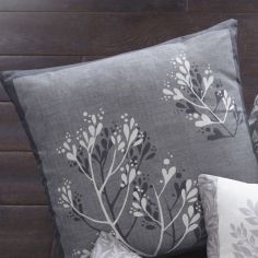 Hanworth Floral Double Sided Cushion Cover - Charcoal Grey