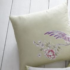 Jade Floral Cushion Cover - Stone