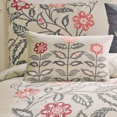 Montague Floral Print Unfilled Boudoir Cushion  - Red