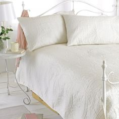Embossed Bedspread & Pillowshams -  Cream
