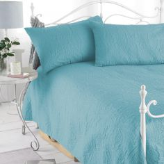 Embossed Bedspread & Pillowshams - Teal Blue