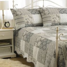 Embossed Geometric Floral Bedspread & Pillowshams - Grey White