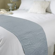 Embossed Bed Quilt Runner - Parisienne Grey
