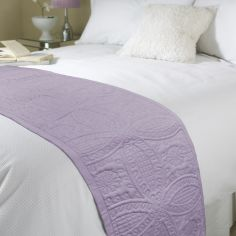 Embossed Bed Quilt Runner - Mauve