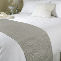 Embossed Bed Quilt Runner - Latte