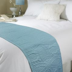 Embossed Bed Quilt Runner - Teal Blue