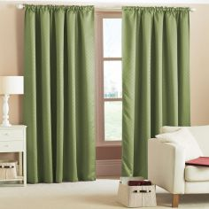 Woven Thermal Blackout Tape Top Curtains - Green