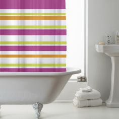 Luxury Vibrant Stripe PEVA Shower Curtain - Pink Multi