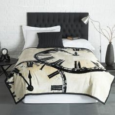 Luxury Vintage Clock Blanket Throw - Cream Black