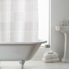 Luxury Tuile PEVA Shower Curtain - White