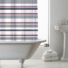 Luxury Vibrant Stripe PEVA Shower Curtain - Pink Grey