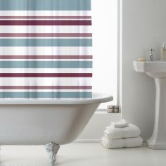 Luxury Vibrant Stripe PEVA Shower Curtain - Pink Teal