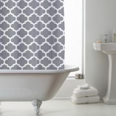 Luxury Geometric PEVA Shower Curtain - Moroccan Grey