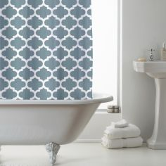 Luxury Geometric PEVA Shower Curtain - Teal Blue