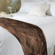 Embossed Satin Bed Runner - Chocolate Brown
