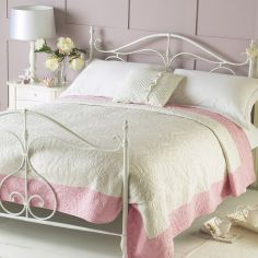 Nice Quilted Embroidered Bedspread - Cream Pink
