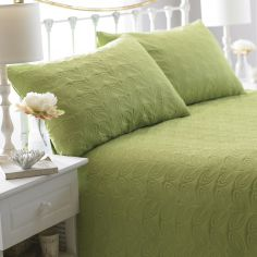 Leaf Embossed Bedspread - Green