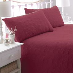 Leaf Embossed Bedspread - Red