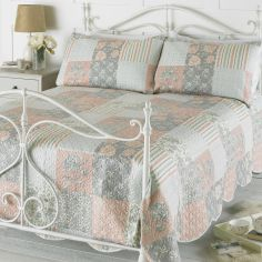 Rosie Floral Patchwork Bedspread Set - Cream Orange Grey