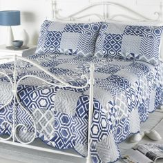 Geometric Patchwork Bedspread Set - Indigo Blue