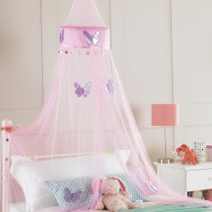 Butterfly Embroidered Bed Canopy Net - Pink