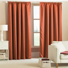 Woven Thermal Blackout Tape Top Curtains - Terracotta Orange