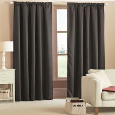 Woven Thermal Blackout Tape Top Curtains - Black
