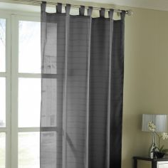 Lurex Stripe Tab Top Voile Curtain Panel - Black