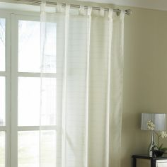 Lurex Stripe Tab Top Voile Curtain Panel - Cream