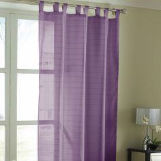 Lurex Stripe Tab Top Voile Curtain Panel - Purple