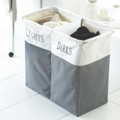 Lights & Darks Laundry Hamper Basket - Grey