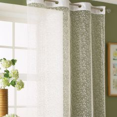 Flock Leaf Eyelet Voile Curtain Panel - White