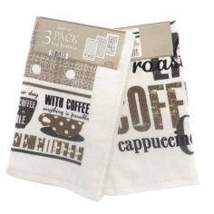Coffee Shop 100% Cotton Tea Towels - Pack of 3