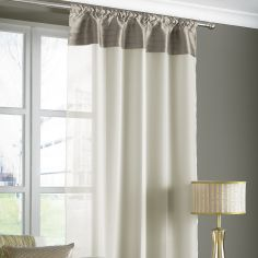 Opal Pleats Voile Slot Top Curtain Panel - Mink