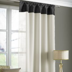 Opal Pleats Voile Slot Top Curtain Panel - Black