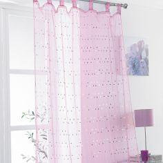 Daisy Sequin Tab Top Voile Curtain Panel - Pink
