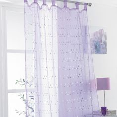 Daisy Sequin Tab Top Voile Curtain Panel - Purple
