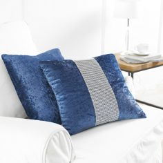 Diamante Sparkle Two-Pack Cushion Covers - Navy Blue