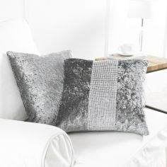 Diamante Sparkle Two-Pack Cushion Covers - Silver Grey