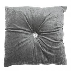 Opulence Diamante Button Filled Cushion - Grey