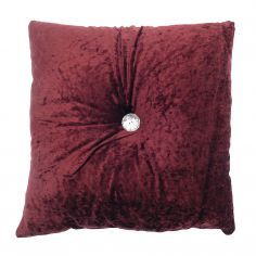 Opulence Diamante Button Filled Cushion - Red