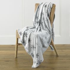 Snowflake Print Fleece Throw - Grey