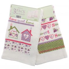 Home Sweet Home Pack of 3 100% Cotton Tea Towels