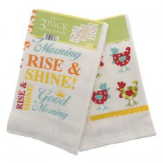 Rise and Shine Pack of 3 100% Cotton Tea Towels