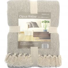 Opus Herringbone 100% Cotton Throw - Taupe