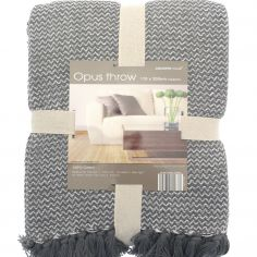 Opus Herringbone 100% Cotton Throw - Grey