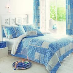 Pair of Shantar Patchwork Housewife Pillowcases - Blue