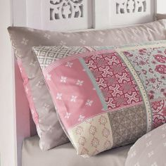 Pair of Shantar Patchwork Housewife Pillowcases - Pink