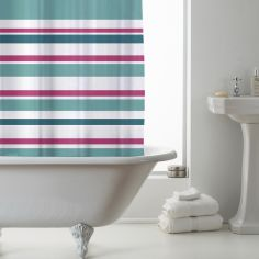 Luxury Vibrant Stripe PEVA Shower Curtain - Teal Multi
