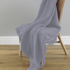 Chenille Tassled Trim Throw - Grey